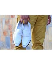 Carrucci White Slip On Oxford Shoes Perfect for Men