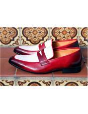 Mens Slip On Shoe Red ~ White