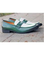 Mens Slip On Shoe Green ~ White