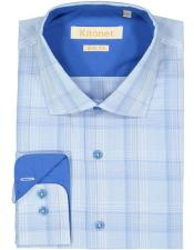 MSH9014# Spread Collar Slim Fit Cotton White ~ Blue Mens Dress Shirt