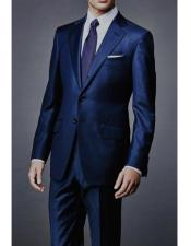 James Bond Outfit Dark Navy Wool Blend Two Piece Sharkskin Suit