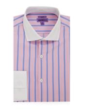 Spread Collar Slim Fit Cotton Pink Mens Dress Shirt