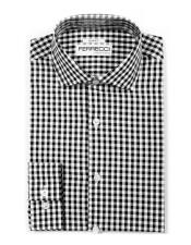 Mens Black 100% Cotton Button Closure Gingham Shirt - Checker Pattern -