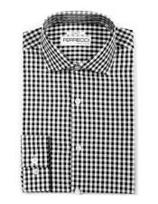 Slim Fit Cotton Black Mens Dress Gingham Shirt - Checker Pattern