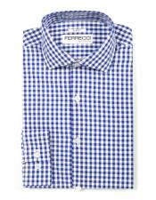 Spread Collar Slim Fit Cotton Blue Mens Dress Gingham Shirt - Checker