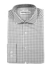 100% Cotton Grey Mens Dress Gingham Shirt - Checker Pattern -