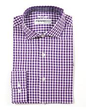 Purple Cotton  Mens Dress Gingham Shirt - Checker Pattern - French