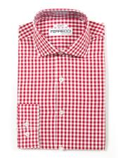 Spread Collar Slim Fit Cotton Red Mens Dress Gingham Shirt - Checker