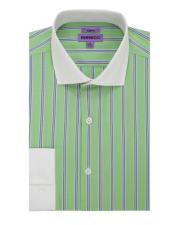 Striped Pattern Matching White Collar & Cuffs Green Cotton Mens Dress Gingham Shirt - Checker Pattern - French