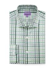 Spread Collar Slim Fit Cotton Green Mens Dress Gingham Shirt - Checker Pattern - French Cuff - White