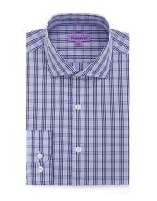 Blue Cotton Slim Fit Mens Dress Gingham Shirt - Checker Pattern -