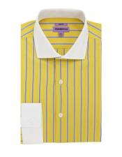 Yellow Striped Pattern 100% Cotton Mens Dress Gingham Shirt - Checker Pattern