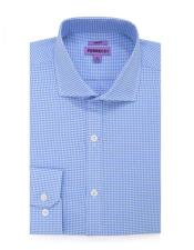 Slim Fit  Button Closure Blue Mens DressGingham Shirt - Checker Pattern