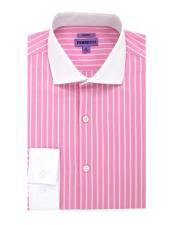 Pink Striped Pattern Button Closure 100% Cotton Gingham Shirt - Checker Pattern