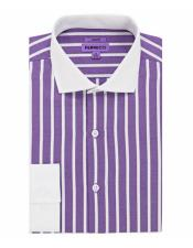 Spread Collar Slim Fit Cotton Lavender Mens Dress Shirt