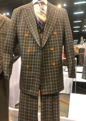 Peak Lapel Single Breasted Plaid Suit