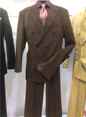 Notch Lapel Single Breasted Brown Suit
