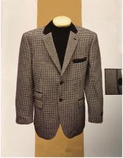 Elbow Patch Houndstooth Mini Checker Pattern Sport Coat Blazer With Velvet Collar