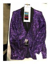 Single Breasted One Button Purple Blazer Tuxedo Looking
