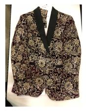 Floral Pattern Maroon ~ Gold Double Breasted Blazer