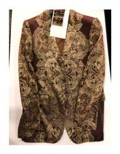 Floral Pattern Double Breasted One Button Brown ~ Gold Blazer
