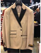 Natural Tan Beige Champagne Tuxedo Peak Lapel with Black Lapel