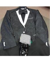 Flower printed notch collared 1 chest pocket cuff link black western blazer