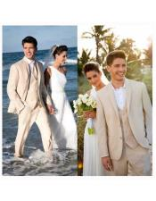 Mens Beach Wedding Attire Suit Menswear Beige