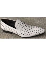 Dress Coat Silver Studs White Unique Zota Mens Dress Shoe