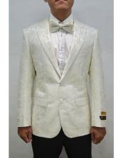 And Silver Mix With ivory Tuxedo Blazer With Matching Bow Tie