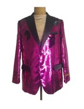 Mens One Button  Hot Pink ~ Fuchsia Sequin Blazer - Sequin