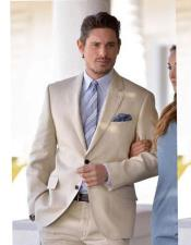 Beige Single Breasted Two Button Notch Lapel
