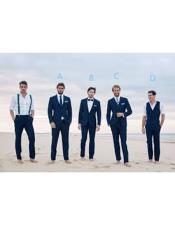 Navy Blue Two Button Notch Lapel Beach Wedding Attire Suit