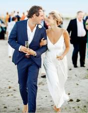 Mens Navy Blue One Button Beach Wedding Attire Suit