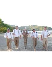 Mens Beige Four Button Beach Wedding Attire Suit