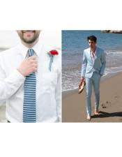 Mens Beach Wedding Attire Suit Menswear Light Blue $199
