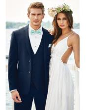 Mens Navy Blue  Beach Wedding Attire Suit