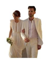 Mens Ivory Three Button Beach Wedding Attire Suit