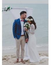 Blue Notch Lapel Beach Wedding Attire Suit
