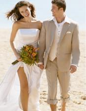 Beige Beach Wedding Attire Suit Menswear