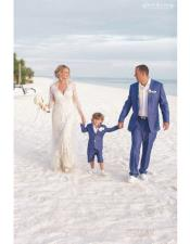 Navy Blue Patch Two Pockets Beach Wedding Attire Suit