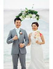Mens Grey  Beach Wedding Attire Suit Menswear