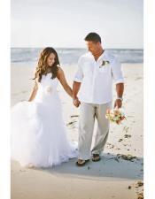 Mens White   Beach Wedding Attire Suit