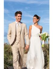 Mens Beige Besom Two Pockets Beach Wedding Attire Suit