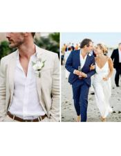 Mens Beach Wedding Attire Suit Menswear Ivory/Dark Navy Blue $199