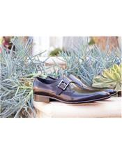 Mens Slip On Buckle Closure Grey Carrucci Shoe