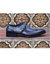 Mens Black Slip-On Mens two tone wingtip dress shoes Carrucci Shoe