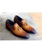 Cognac Stitched welt Slip On Carrucci Shoe
