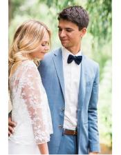 Blue Single Breasted Notch Lapel Beach Wedding Attire Suit