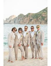 Mens Beige Besom Two Pockets  Beach Wedding Suit